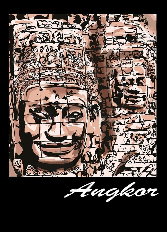 Angkor - o Bayon ilustração do vetor