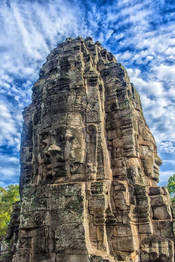 Angkor Thom - Bayon tempel arkivbild