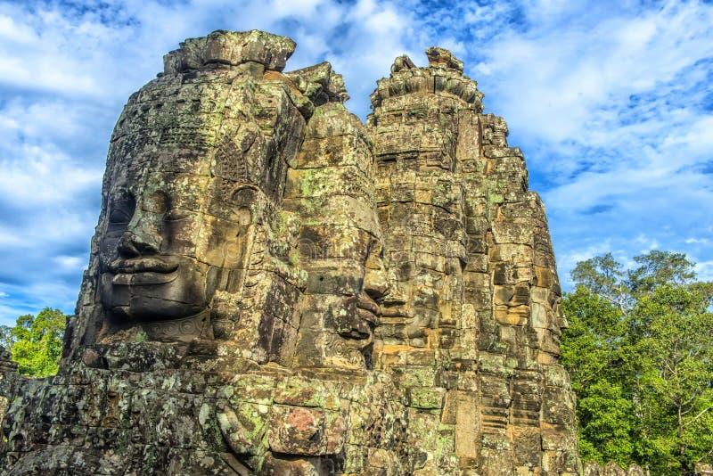 Angkor Thom - Bayon tempel arkivbilder