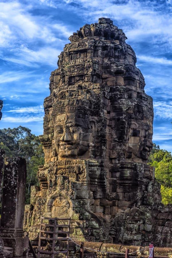 Angkor Thom - Bayon tempel arkivfoto