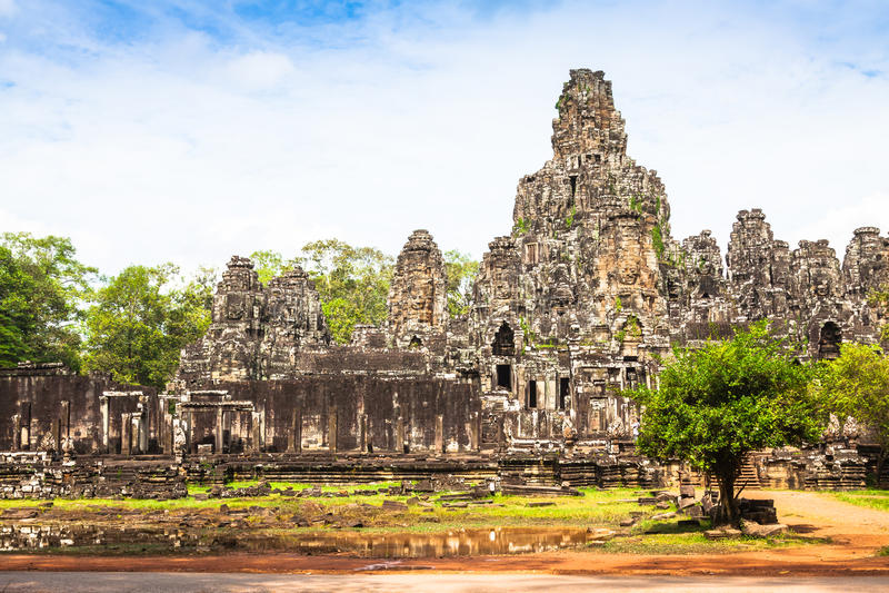 Angkor Thom Cambodja Bayon en khmertempel på den Angkor Wat historicaen arkivfoton