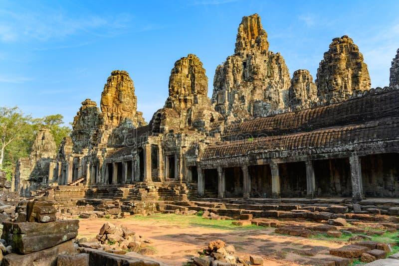 Angkor Thom en khmertempel, Siem Reap, Cambodja Bayon den mest noterbara templet på Angkor Thom royaltyfri foto