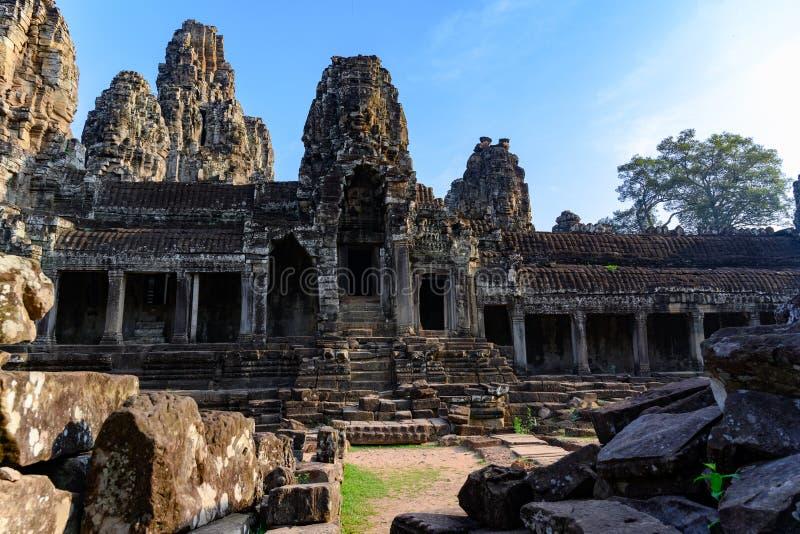 Angkor Thom en khmertempel, Siem Reap, Cambodja Bayon den mest noterbara templet på Angkor Thom fotografering för bildbyråer