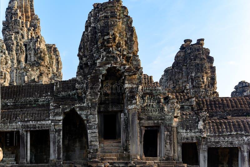 Angkor Thom en khmertempel, Siem Reap, Cambodja Bayon den mest noterbara templet på Angkor Thom arkivfoto