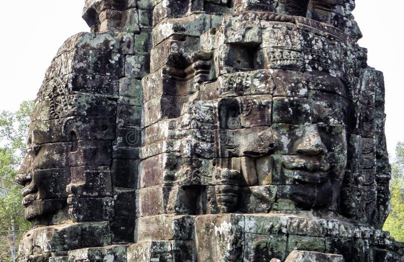 Angkor Thom med att le buddha vänder mot på Angkor Wat Temple - Siem Reap, Cambodja royaltyfri fotografi