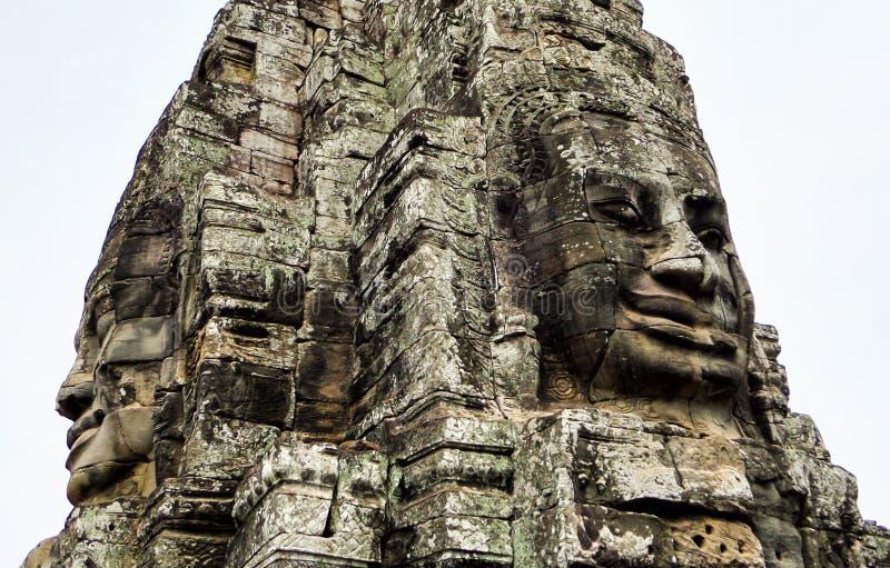 Angkor Thom med att le buddha vänder mot på Angkor Wat Temple - Siem Reap, Cambodja arkivbild