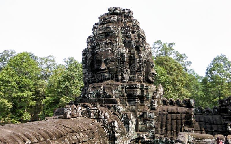 Angkor Thom med att le buddha vänder mot på Angkor Wat Temple - Siem Reap, Cambodja arkivfoto