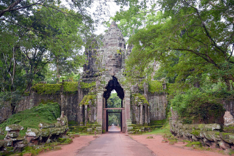 Angkor Thom North port arkivbild