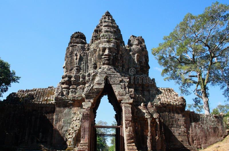 Angkor Thom port, Cambodja arkivfoto