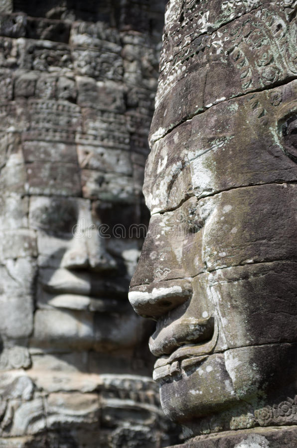 Angkor Thom statues royalty free stock photos