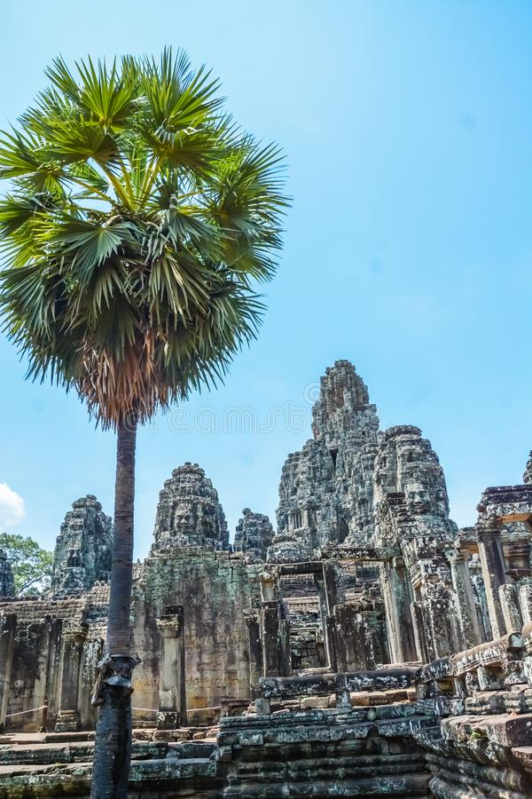 Angkor Thom tempel i Siem Reap, Cambodja royaltyfri bild