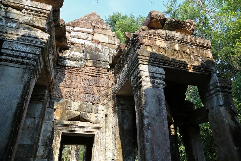Angkor Thom tempelkomplex, Cambodja royaltyfria foton