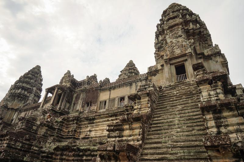 Angkor Vat est un site de Herutage du monde de l'UNESCO depuis 1992 Célèbre pour lui procédé de construction du ` s et peintures  photo libre de droits