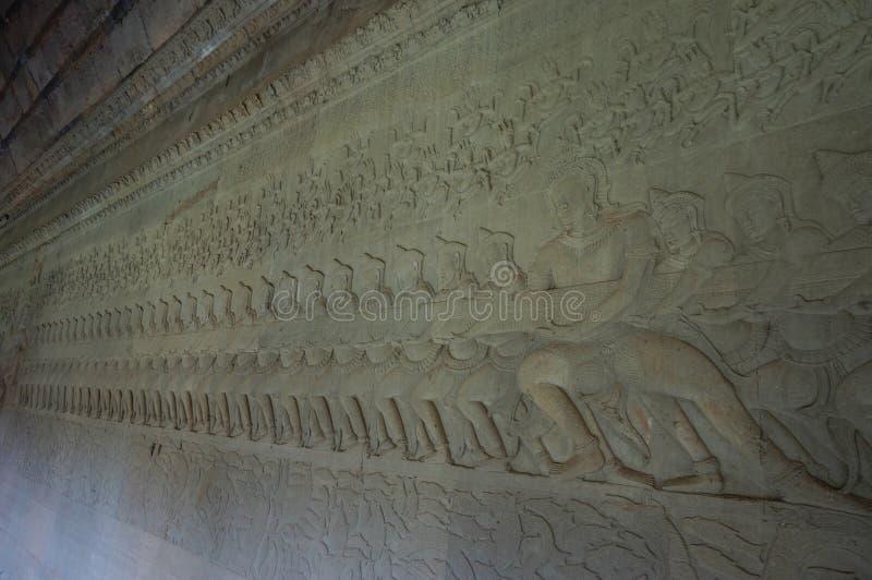 Angkor Vat est un site de patrimoine mondial de l'UNESCO depuis 1992 Célèbre pour lui procédé de construction du ` s et peintures images libres de droits
