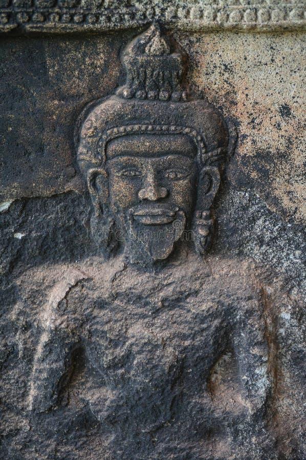 Angkor Vat est un site de patrimoine mondial de l'UNESCO depuis 1992 Célèbre pour lui procédé de construction du ` s et peintures image libre de droits