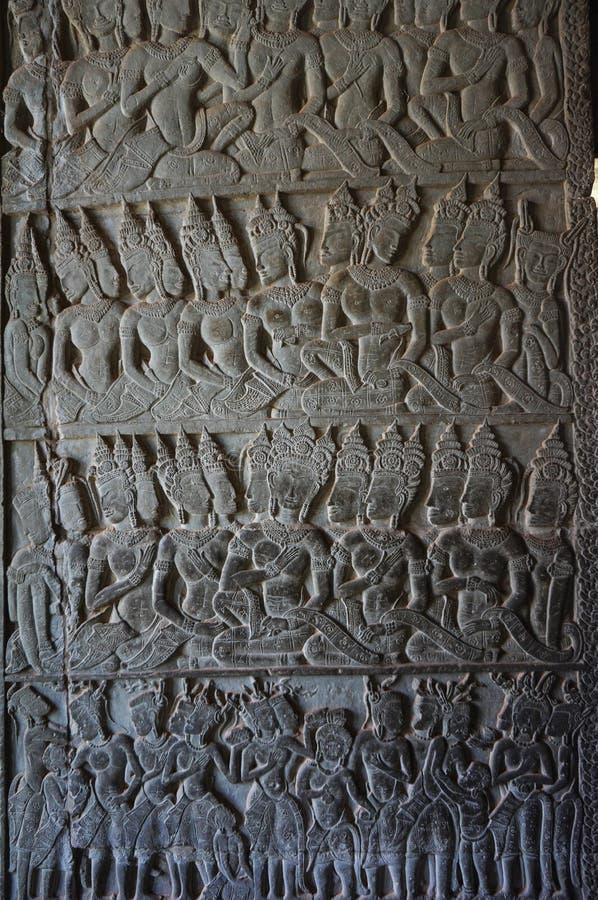 Angkor Vat est un site de patrimoine mondial de l'UNESCO depuis 1992 Célèbre pour lui procédé de construction du ` s et peintures photographie stock libre de droits