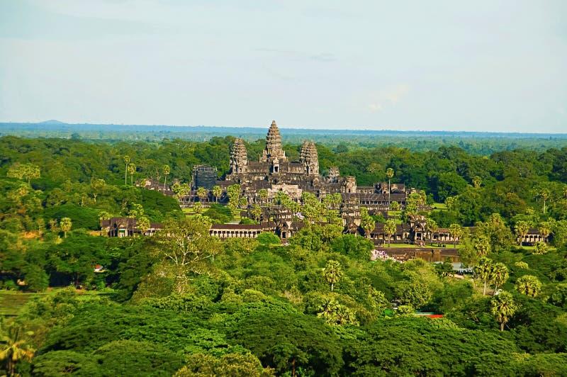 Angkor Wat świątynny kompleks, widok z lotu ptaka cambodia przeprowadzać żniwa siem Wielki religijny zabytek w świacie 162 6 hekt zdjęcia stock