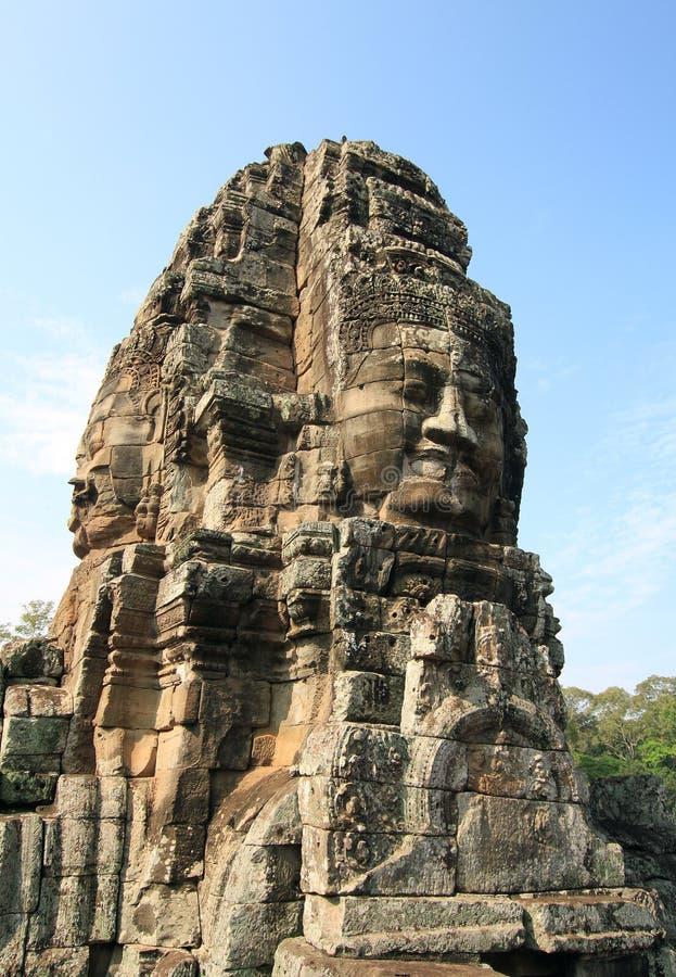 Angkor Wat. Faces at Angkor Wat at Siem Reap, Cambodia Photo taken in April 2011 royalty free stock image