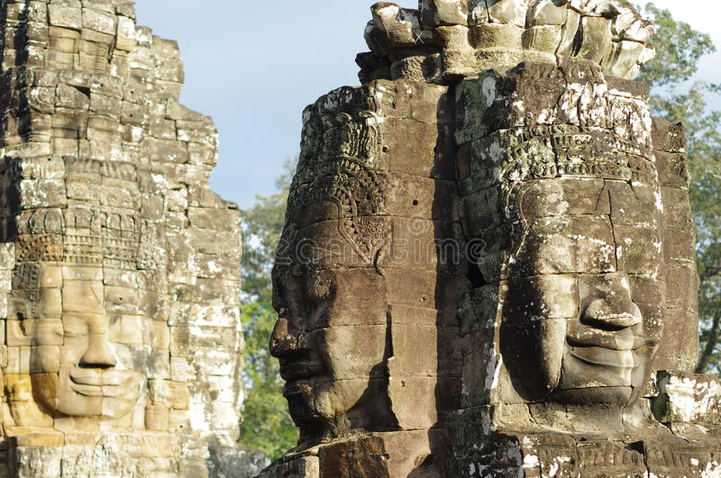 Faces on Prasat Bayon royalty free stock photos