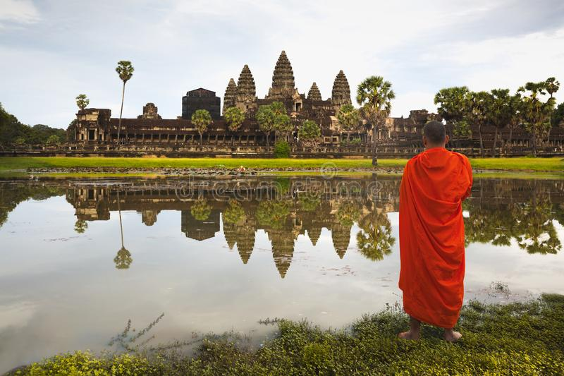 Angkor Wat bij zonsopgang royalty-vrije stock fotografie