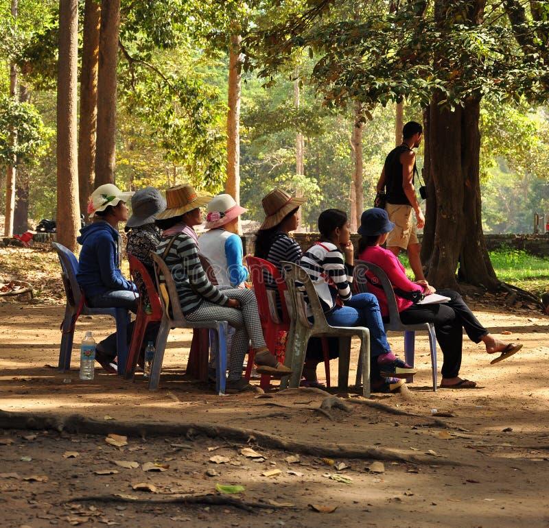 Free Angkor Wat, Cambodia. Seated Women Waiting For Customers Stock Photos - 98357633