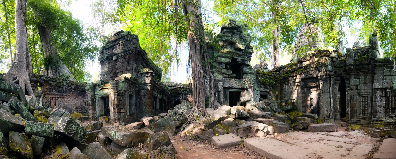 Angkor Wat Cambodia. Ta Prom Khmer ancient Buddhist temple stock photography