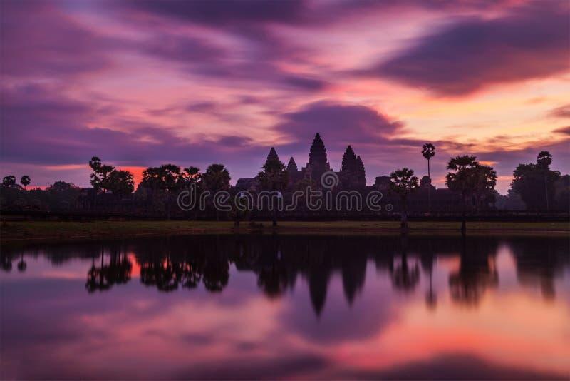 Angkor Wat Cambodian landmark - on sunrise. Angkor Wat - famous Cambodian landmark - on sunrise. Siem Reap, Cambodia royalty free stock images