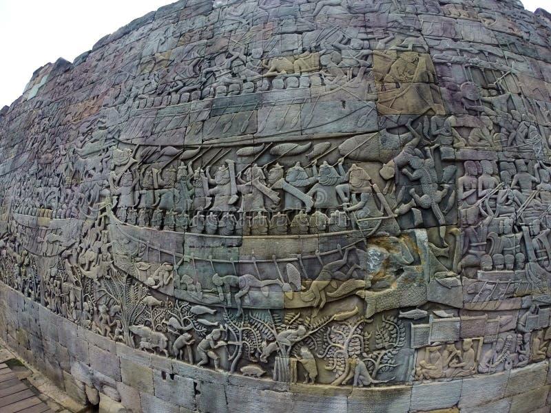 Angkor wat carved wall images ruin stock photos