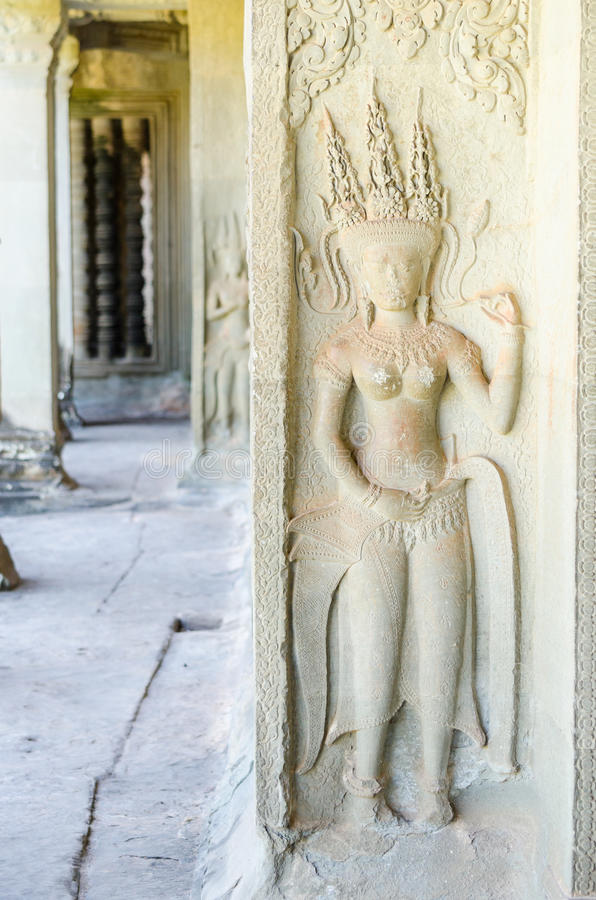 Angkor Wat Complex - Apsara Statue Stock Images