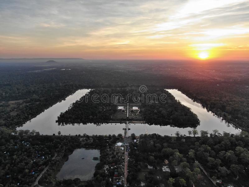 Angkor Wat droneshot arkivfoto