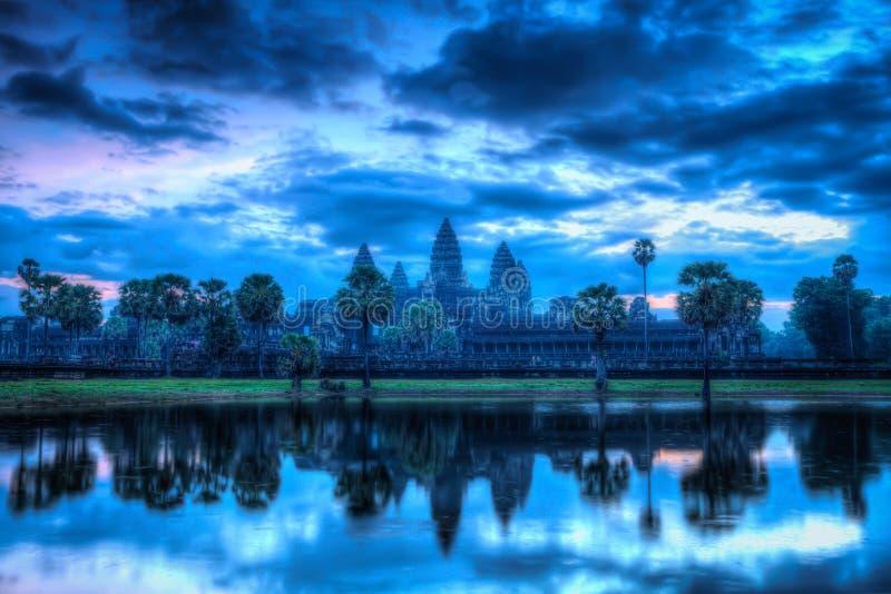 Angkor Wat - famous Cambodian landmark - on sunrise. High dynamic range (hdr) image of Angkor Wat - famous Cambodian landmark - on sunrise. Siem Reap, Cambodia royalty free stock photo