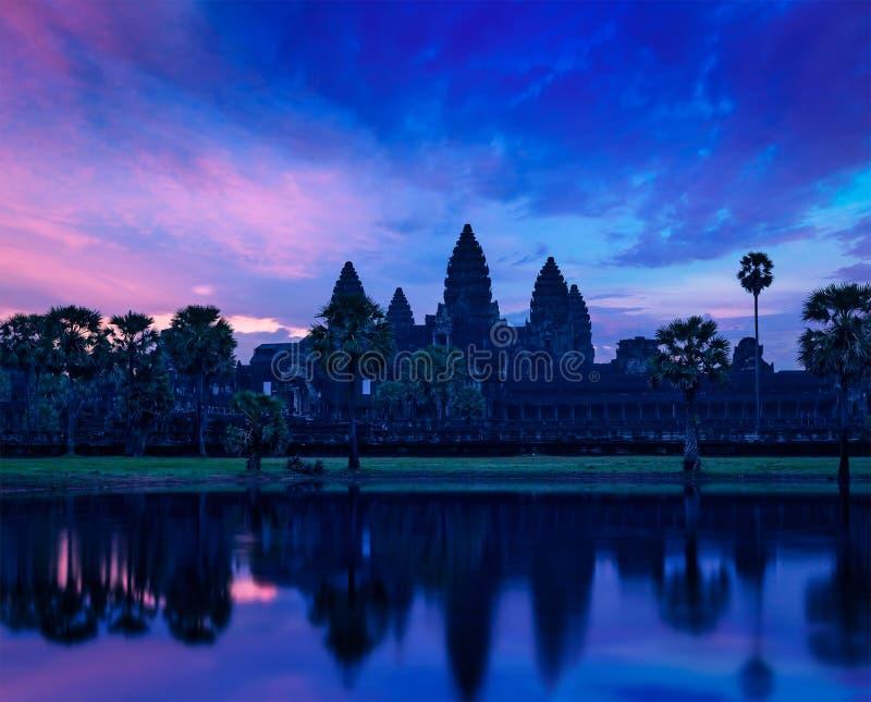 Angkor Wat famous Cambodian landmark on sunrise. Angkor Wat - famous Cambodian landmark - on sunrise. Siem Reap, Cambodia royalty free stock photography