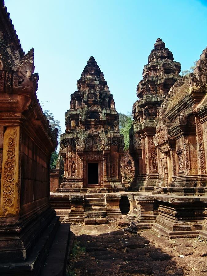 Angkor Wat - härliga carvings, baslättnader av den Banteay Srei templet arkivbild