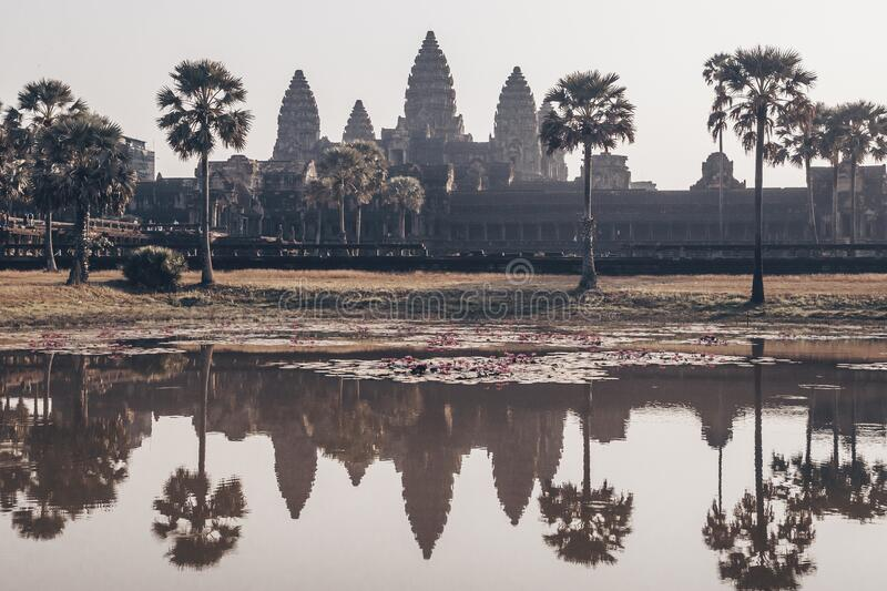 Angkor Wat - Hindu temple complex in Cambodia, largest religious monument in the world. Reflection in the pond. Popular. Tourist attraction royalty free stock photo