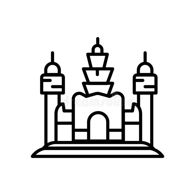Angkor Wat icon vector isolated on white background, Angkor Wat sign , line or linear sign, element design in outline style stock illustration