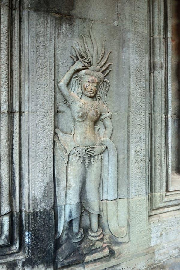 Angkor Wat, Kambodja Het dansen Apsara stock foto's