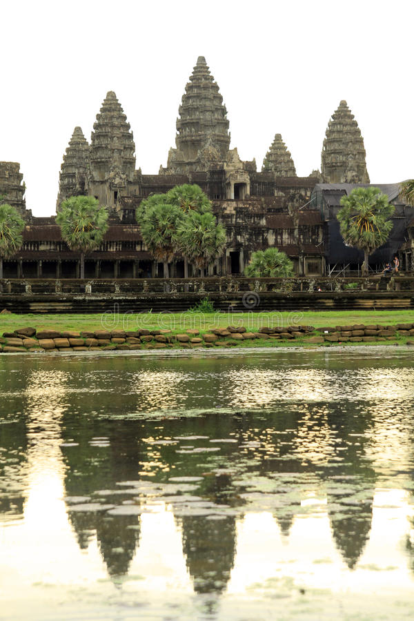 Angkor Wat. (Khmer: អង្គរវត្ត) was first a Hindu, then subsequently a Buddhist, temple complex in Cambodia and stock images