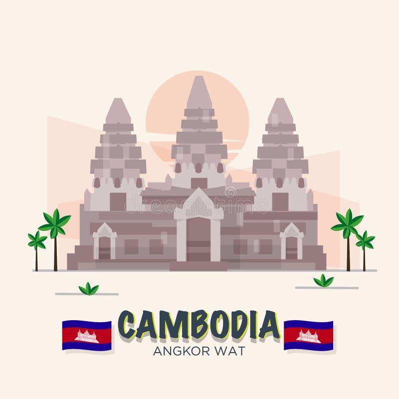 Angkor Wat Marco de Camboja 7a maravilha do mundo ilustração royalty free