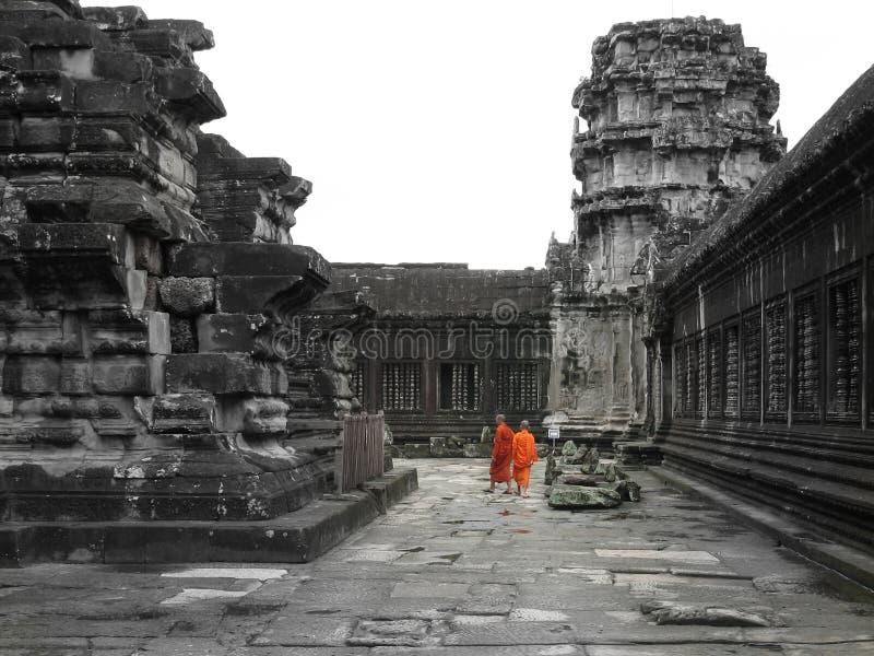 Angkor Wat monks stock images
