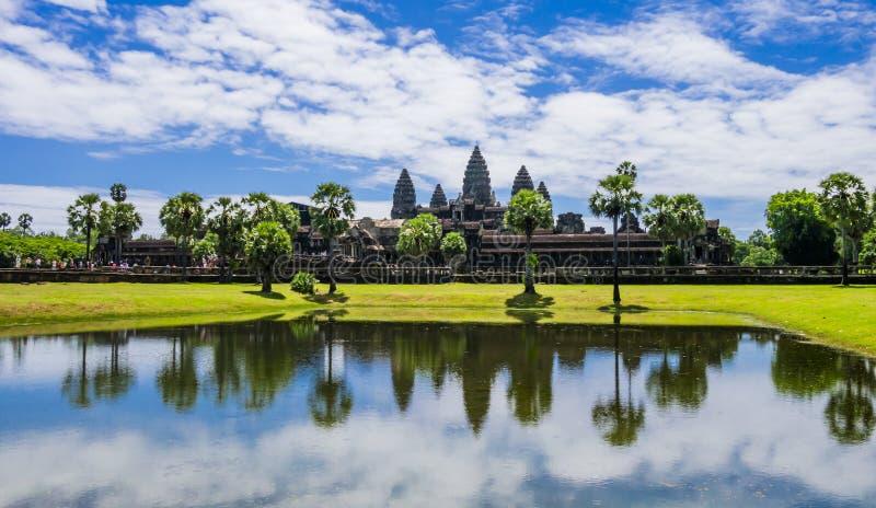 Angkor Wat, oude Khmer tempel, Siem oogst, Kambodja royalty-vrije stock afbeelding