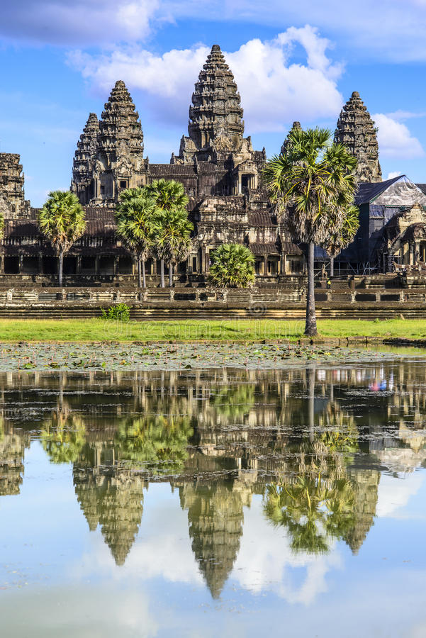 Angkor Wat. The reflection of Angkor Wat royalty free stock photo