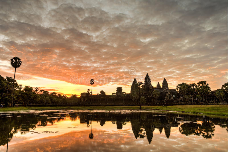 Angkor Wat. Status silhouette of Angkor Wat in sunrise, the best time in the morning at Siem Reap, Cambodia royalty free stock photos