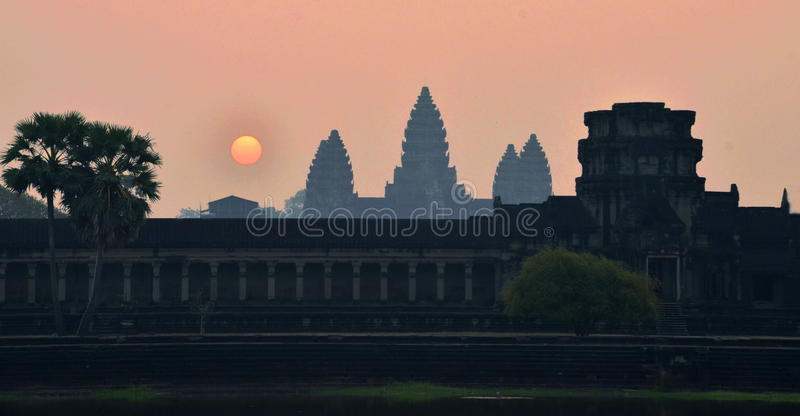 Angkor Wat Sunrise. Sunrise at Angkor Wat, Siem Reap, Cambodia. This temple is a UNESCO World Heritage Site royalty free stock photography