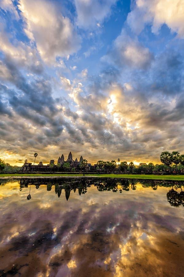 Angkor Wat in sunrise. Status silhouette of Angkor Wat in sunrise, the best time in the morning at Siem Reap, Cambodia royalty free stock photos