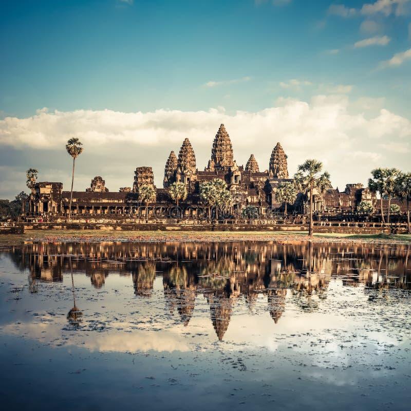 Angkor Wat tempel cambodia skördar siem fotografering för bildbyråer