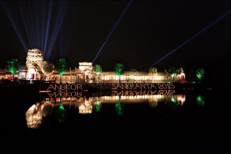 Angkor Wat tempel på natten royaltyfri bild