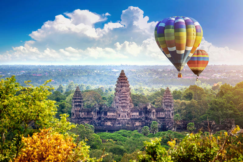 Angkor Wat Temple with balloon, Siem reap. Angkor Wat Temple with balloon, Siem reap in Cambodia stock photography