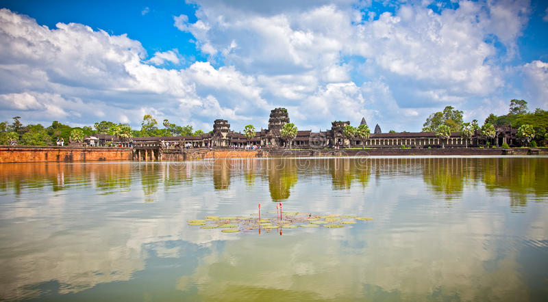 Angkor Wat temple complex , near Siem Reap, Cambodia. Famous Angkor Wat temple complex, near Siem Reap, Cambodia.Panoramic view royalty free stock photo