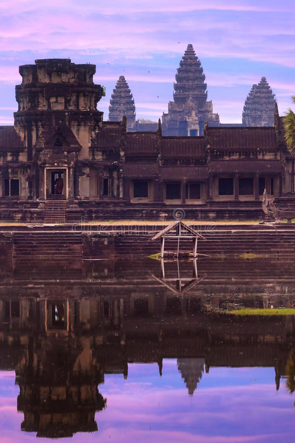 Free Angkor Wat Temple Complex View At The Main Entrance, Located Nea Royalty Free Stock Image - 56788136