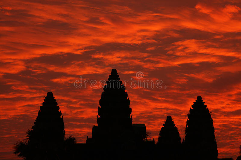 Angkor wat temple with dramatic sunrise sky, Cambo